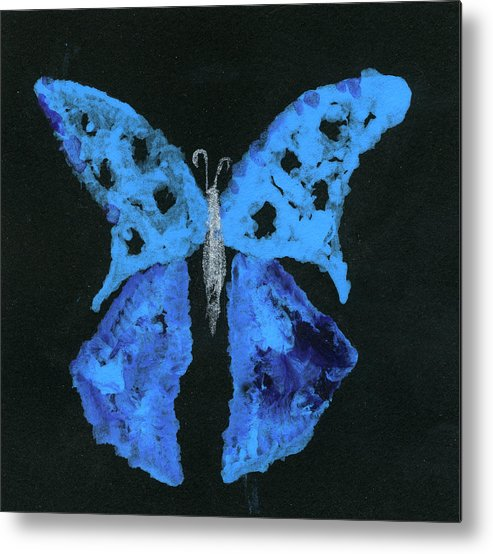 Butterfly Metal Print featuring the painting Blue Butterfly by Oudi Arroni
