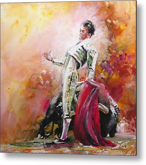 Animals Metal Print featuring the painting Bullfight 24 by Miki De Goodaboom