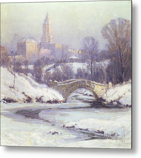Winter Metal Print featuring the painting Central Park by Colin Campbell Cooper