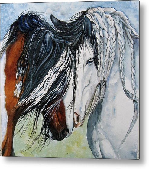 Equine Metal Print featuring the painting Companions by Gina Hall