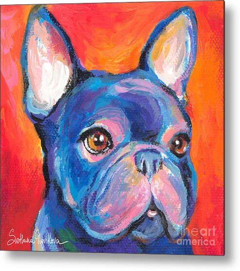 French Bulldog Gifts Metal Print featuring the painting Cute French Bulldog Painting Prints by Svetlana Novikova