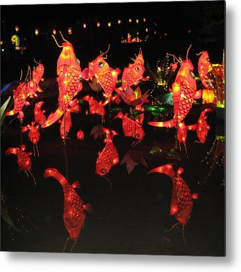 Chinese Metal Print featuring the photograph Dancing Goldfish Pond At Night by Sheri Gundry