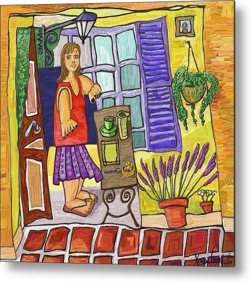 Still Life Metal Print featuring the painting Esmorzant En Provence by Xavier Ferrer