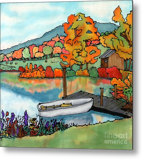 Boat Metal Print featuring the painting Fall Boat And Dock by Linda Marcille