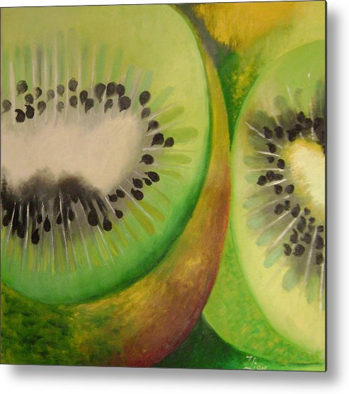 Abstract Metal Print featuring the painting Green Ecstasy 2 by Lian Zhen