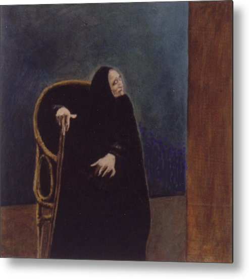 Aged Lady Metal Print featuring the painting Madre Celestina by James LeGros