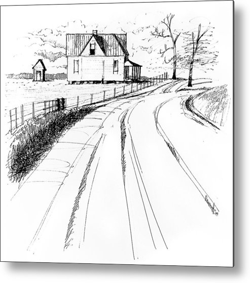 Landscape Metal Print featuring the drawing On The County Line by Peter Muzyka