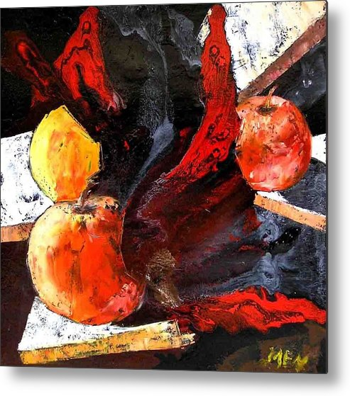 Metal Print featuring the painting Red Apples by Evguenia Men