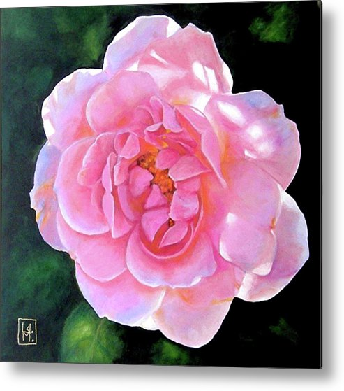 Backlit Rose In Acrylic. Floral Metal Print featuring the painting Remembering Frances by Linda Mahoney