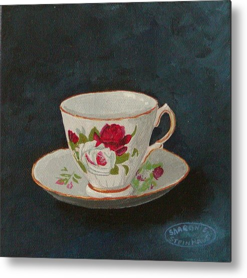 Rose Teacup And Saucer China Original Acrylic Metal Print featuring the painting Rose Teacup by Sharon Steinhaus