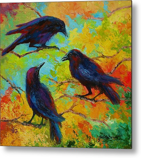 Crows Metal Print featuring the painting Roundtable Discussion - Crows by Marion Rose