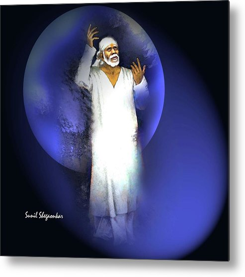 Sai Metal Print featuring the painting Sai Chakra Painting By Sunil Shegaonkar by Saibaba Shirdi