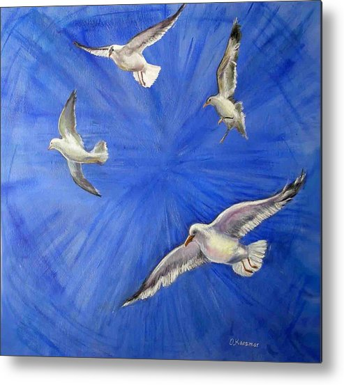 Birds Metal Print featuring the painting Seagulls by Olga Kaczmar