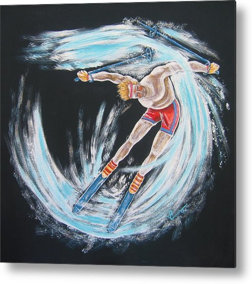 Abstract Sports Metal Print featuring the painting Ski Bum by V Boge