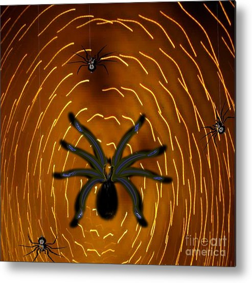 Insects Metal Print featuring the painting Spin A Mighty Web by Belinda Threeths