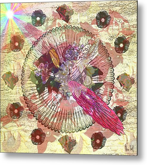 Flowers Metal Print featuring the digital art The Flowerclock by Helmut Rottler