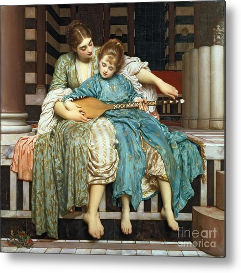 The Music Lesson Metal Print featuring the painting The Music Lesson by Frederic Leighton