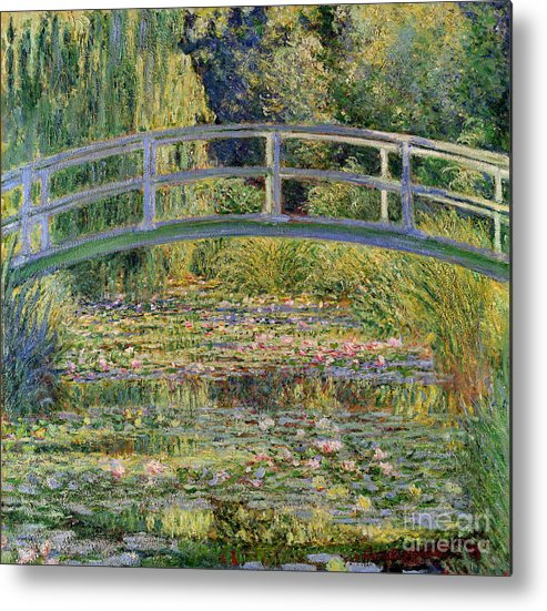 The Metal Print featuring the painting The Waterlily Pond With The Japanese Bridge by Claude Monet