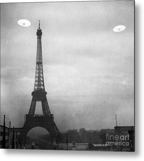 1950s Metal Print featuring the photograph Ufo: Paris by Granger