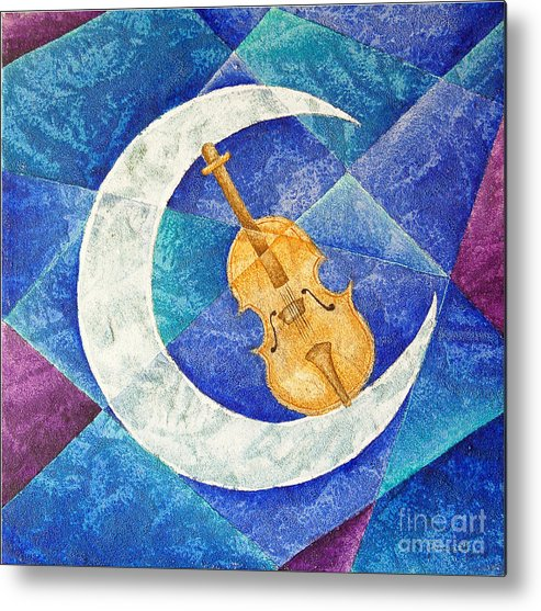 Moon Metal Print featuring the painting Violin-moon by Son Of the Moon