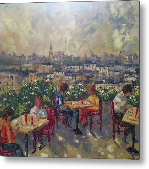 Frederic Payet Metal Print featuring the painting Vue De Paris by Frederic Payet