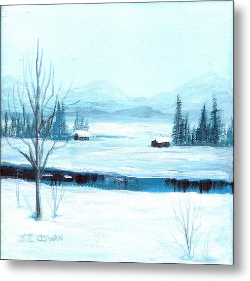 Winter Metal Print featuring the painting Winter Blues by SueEllen Cowan