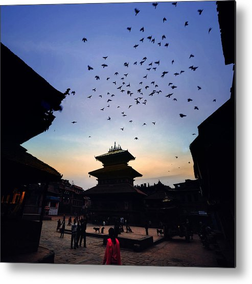 People Metal Print featuring the photograph Bhaktapur Square by Phoenix Wang
