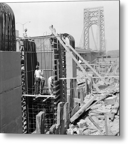 Working Metal Print featuring the photograph Bridge Foundation by Sherman