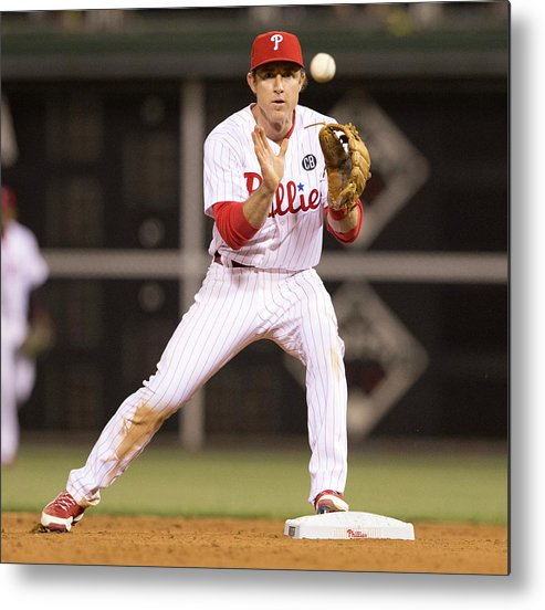 Double Play Metal Print featuring the photograph Chase Utley by Mitchell Leff