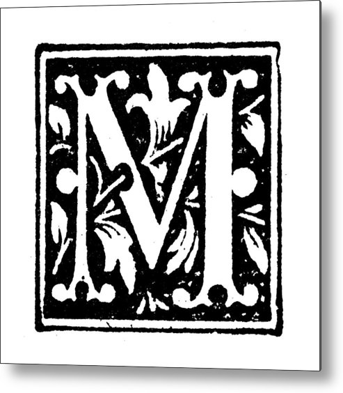 b28186496e Engraving Metal Print featuring the drawing Antique Children's Book Comic  Illustration: Ornate Letter M by