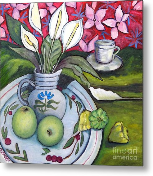 Peace-liliy Metal Print featuring the painting Apples And Lilies by Caroline Street