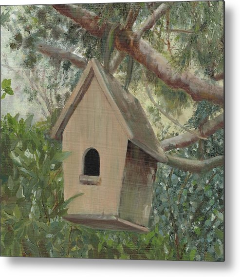 Birdhouse Painting Metal Print featuring the painting Birdhouse - Just Listed by Karen Stitt