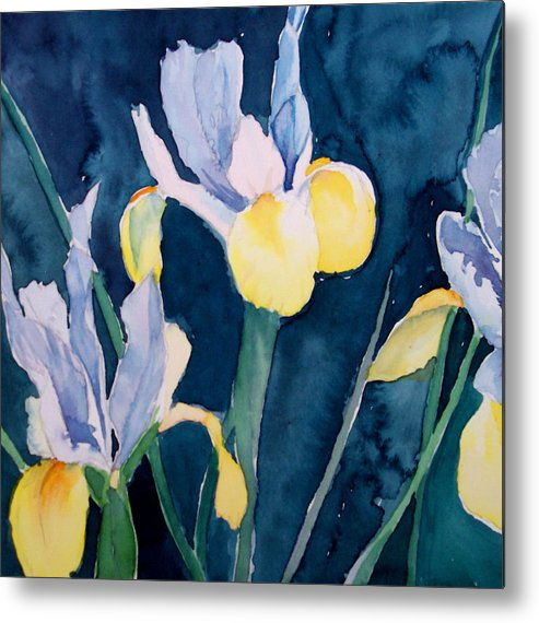 Flowers Metal Print featuring the painting Blue Iris by Philip Fleischer