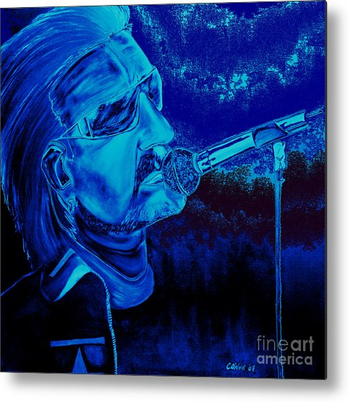 Bono Metal Print featuring the painting Bono In Blue by Colin O neill