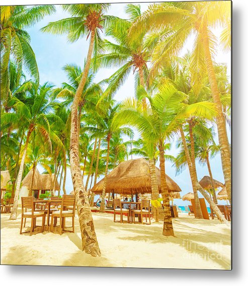 America Metal Print featuring the photograph Cafe On Tropical Beach by Anna Om
