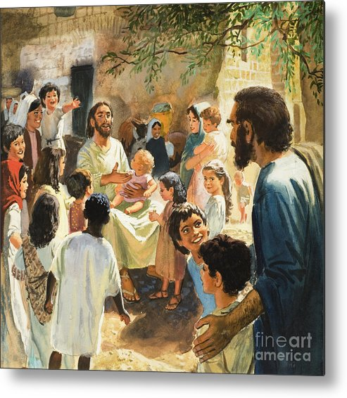 Jesus Christ Metal Print featuring the painting Christ With Children by Peter Seabright