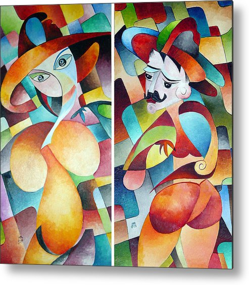 Cubism Metal Print featuring the painting Man And Woman by Dorothy Maier