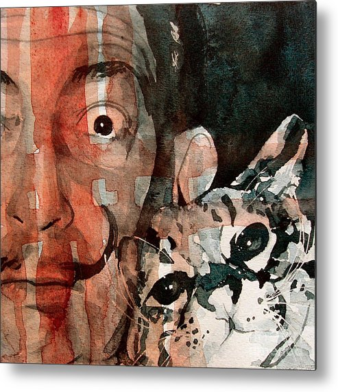 Salvador Dali Metal Print featuring the painting Dali And His Cat by Paul Lovering