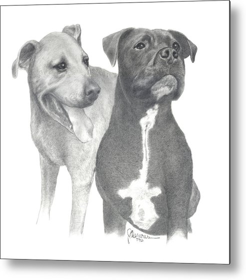 Pencil Drawing Print Metal Print featuring the drawing Dippy And Muggs by Joe Olivares