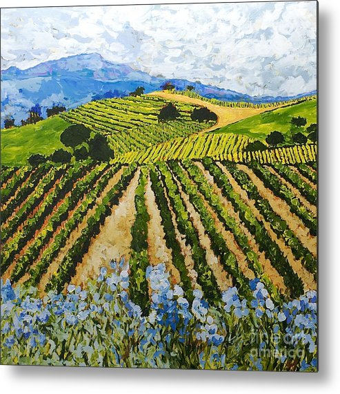 Landscape Metal Print featuring the painting Early Crop by Allan P Friedlander