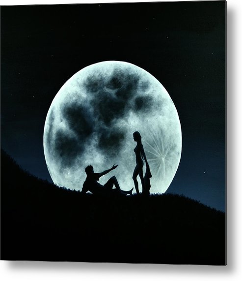 Eros Metal Print featuring the painting Eros Under A Full Moon Rising by Ric Nagualero