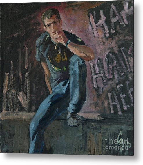 Man Metal Print featuring the painting Etude 12 by Sergey Sovkov