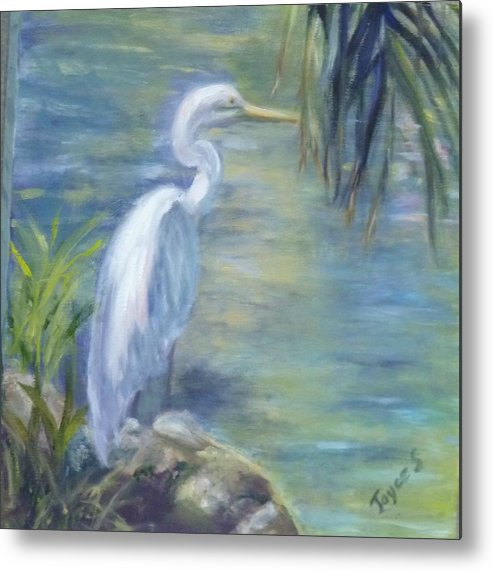 Egret Metal Print featuring the painting Florida Keys Egret by Joyce Spencer