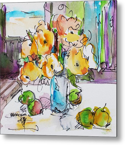 Flowers Metal Print featuring the painting Flowers And Green Apples by Becky Kim