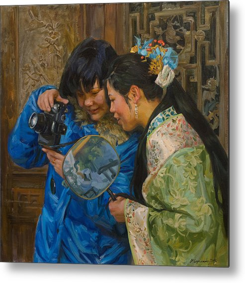 China Metal Print featuring the painting Friends by Victoria Kharchenko