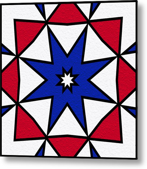 Red Metal Print featuring the digital art Good Old Red White And Blue 2 by Pat Follett