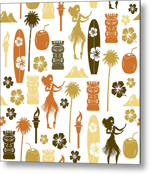 Icon Set Metal Print featuring the drawing Hawaii Repeat Pattern by TheresaTibbetts