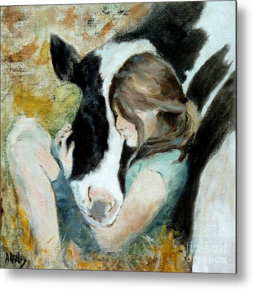 Cow Cows Girl Farm Heart Vegetarian Vegan Carnisn Adolescent Innocent Animal Lover Metal Print featuring the painting Heart Connection by Ann Radley