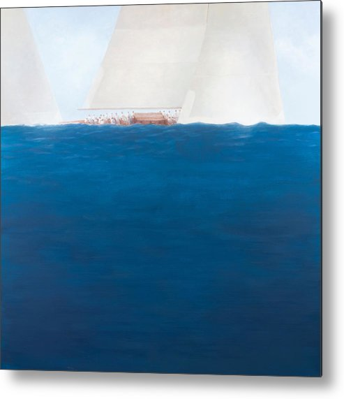 Yacht; Yachts; Sea; Boat; Boating; J-class; Sail; Sailing; Sails; Solent; The Solent; Boat Metal Print featuring the painting J Class Racing The Solent 2012 by Lincoln Seligman