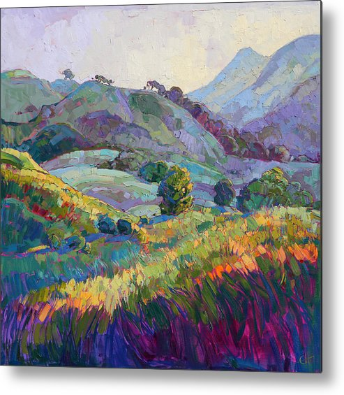 Paso Robles Metal Print featuring the painting Jeweled Hills by Erin Hanson